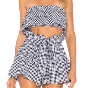 Blue life gingham set size small